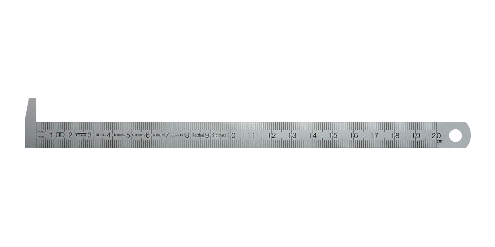 Stainless steel ruler with 90° anvi hook 200x13x0,5 mm
