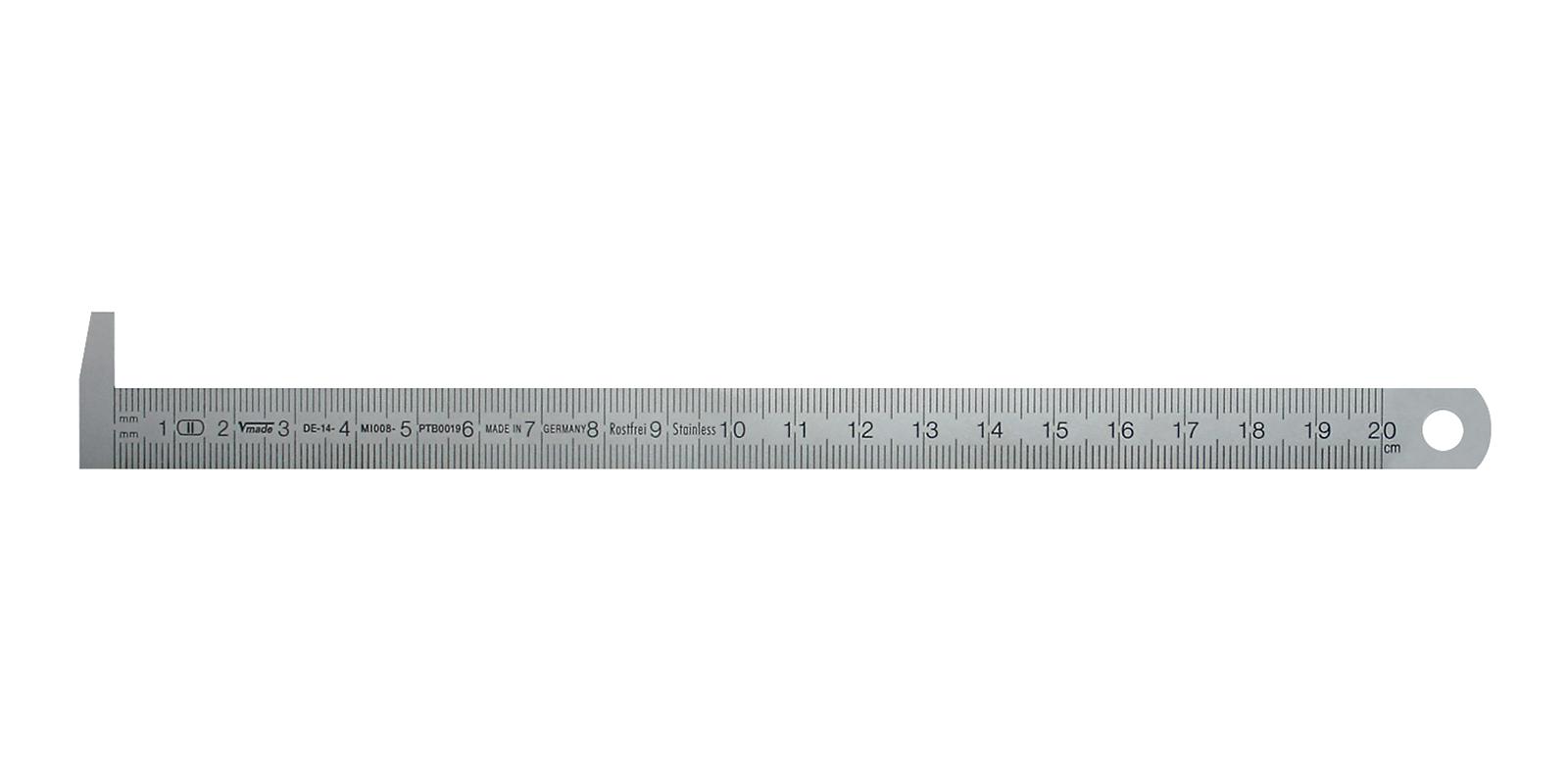 Pravítko z nerez oceli s 90° nosem 500x18x0,5 mm