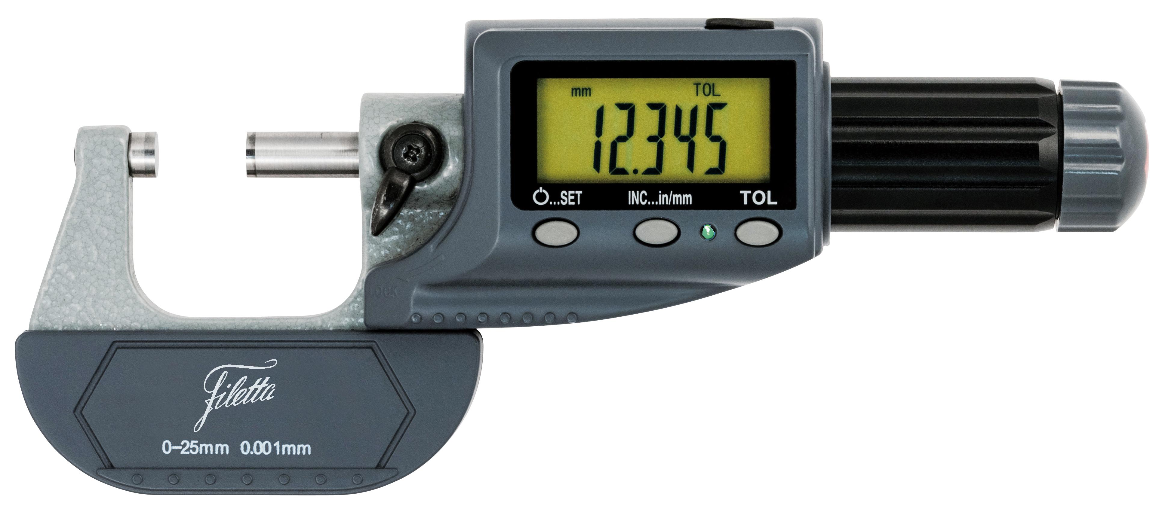 Digitální mikrometr s indikací tolerance, přepínání mm/palce, 0-25mm, IP 54