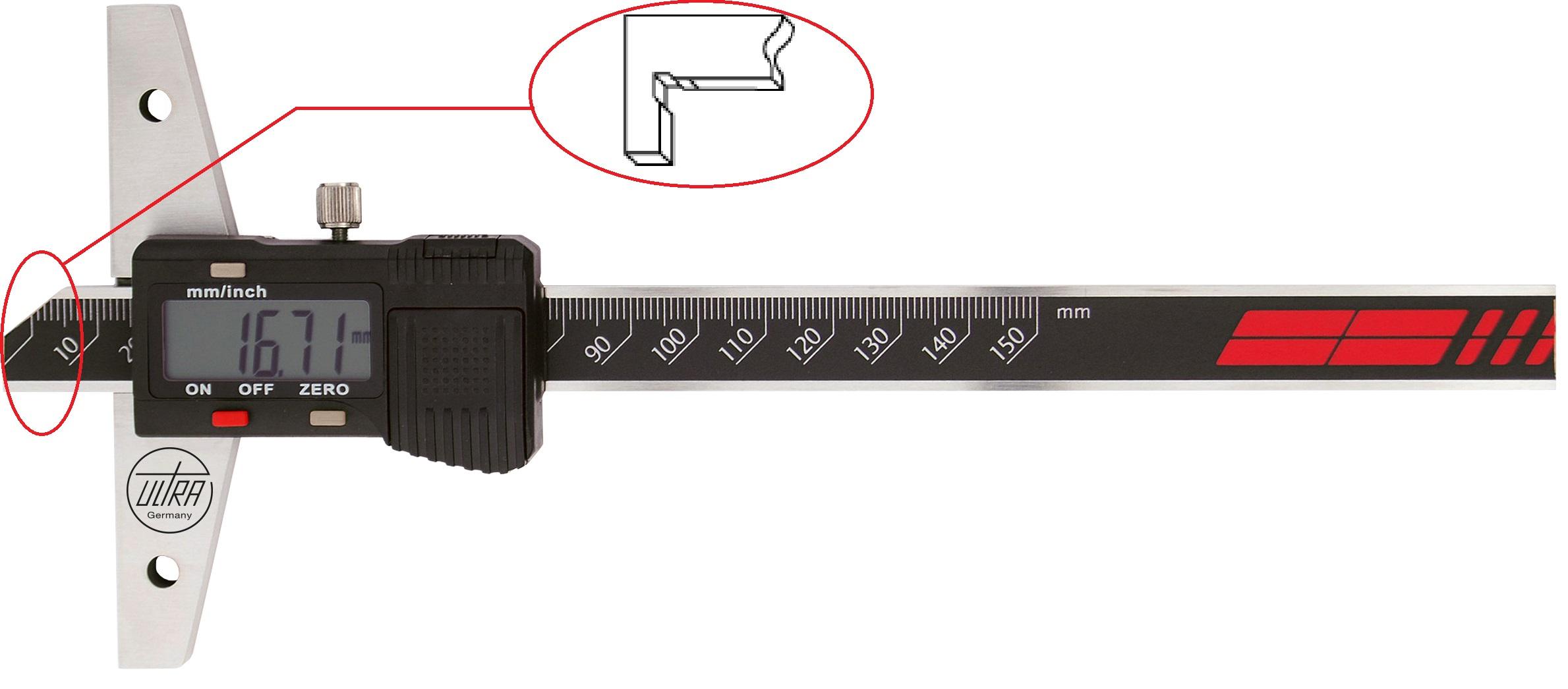 "Digital depth gauge Ultra Prazision, 0-300mm/0-12"", resolutin: 0,01mm, with the hook"