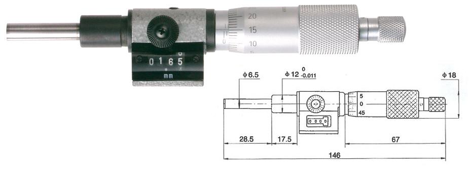Mikrometrická hlavice s čítačem 0-25 mm