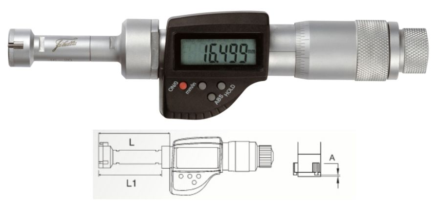 Digital Three-point self-centering internal micrometer 16-20 mm