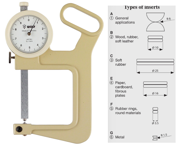 Thickness gauge 0-50/50 mm insert type 6